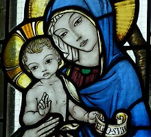 The Virgin Mary & Child - detail of the east window at Tyneham Church Dorset by viennablue