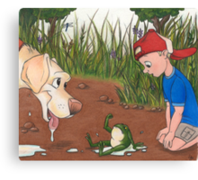 I Brought You a Present (Dog and Frog) Canvas Print