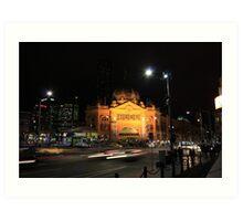 Flinders Street by Night - Melbourne Art Print