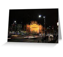 Flinders Street by Night - Melbourne Greeting Card