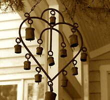 Sepia Heart Bell Chimes by Jonathan  Green