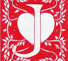 Red Heart Letter J by Donna Huntriss