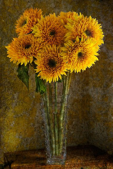 Double Sunflowers in a Glass Vase by Ann Garrett