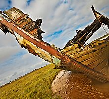 Decaying wreck on the river Wyre by Shaun Whiteman