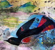 Bird on Blue by FeeBeeDee