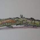 Branch with Lichen by Geraldine M Leahy
