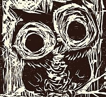 Owl Woodcut by Jaelah