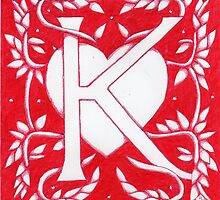 Red Heart Letter K by Donna Huntriss