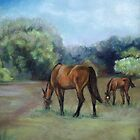 Horse Pasture Pastel Painting by Charlotte Yealey