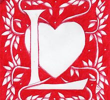 Red Heart Letter L by Donna Huntriss