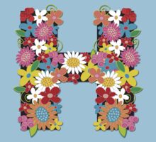 "Spring Flowers Alphabet Monogram ""H"" T-shirt Kids Clothes"