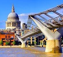 Millennium Bridge and Saint Pauls - London by Colin J Williams Photography