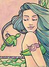 Tattooed Mermaid 6 by Karen  Hallion
