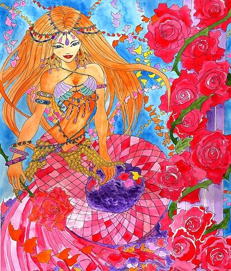Rose Bellydancer Mermaid by Elisa Chong