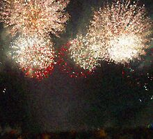 Fire Works Show Stippled Paint 4 FRANCE by Dawnsuzanne