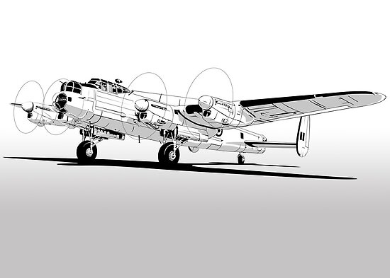 Lancaster Bomber Graphic Drawing by Siegeworks .