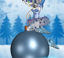 Gothic Rag Doll Christmas Card On Bauble by Moonlake