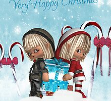 Two little Elves With A Christmas Gift - Card by Moonlake
