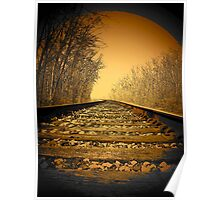 Railroad tracks in the Michigan woods..slipping away Poster