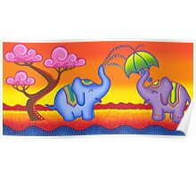 Elephant playing in water Poster