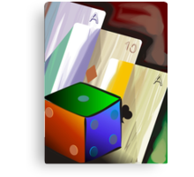 Digital painting of play card and dice Canvas Print