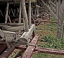 Hay Wagons in a Barn faded by Mark Sellers