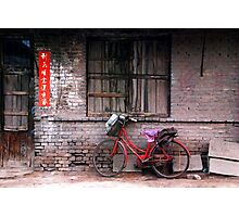 Ping Yao - Red bicycle. Photographic Print
