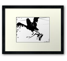 Giant Monsterbird Continues his Nefarious Journey Framed Print