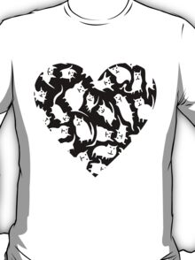 Crazy Cat Heart  T-Shirt