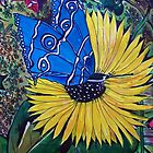 Blue Butterfly and Sunflower by ange2