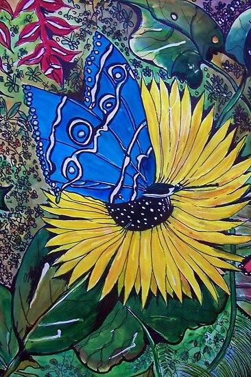 Blue Butterfly and Sunflower by Angela Gannicott