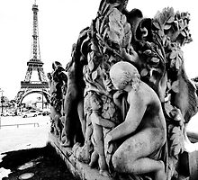 Eiffel Tower with Statue- Paris by Kate Krutzner