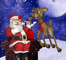 Santa Showing Reindeer A Toy Reindeer Christmas Card by Moonlake