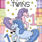 Twins 1st Birthday Card - Happy Birthday Twins by Moonlake