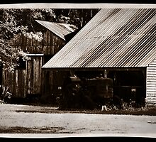 Old Tractor and Barn by HeavenlyCanvas