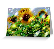 Bubbly Make A Wish Sunflowers Greeting Card