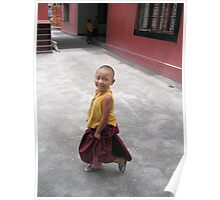 dancing by. young tibetan monk - india Poster
