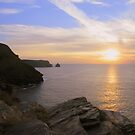 Cornwall: Sinking Sun at Boscastle by Rob Parsons