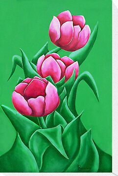 pink tulips by Rosemary Scott