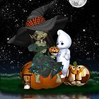Halloween Card With Cute Witch And Ghost by Moonlake