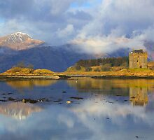 Mist rising over Castle Stalker and the Morvern Hills by Dennis  Hardley