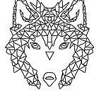 Wolf Face triangles poster illustration  by Scott Barker