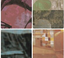 Four abstract multi-colored squares by elasticlola