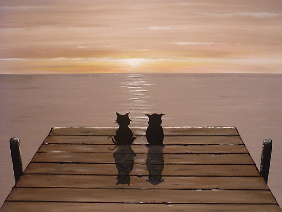 The Owl and the Pussycat (Acrylic) by Paul Horton