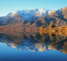 """evening glow""  lake benmore, south island, new zealand by rina  thompson"