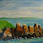 Rocks near Cadgwith, Cornwall by Linda Ridpath