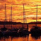 Sunset at Langkawi Harbour, Malaysia by Angela Gannicott