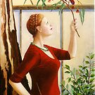Crimson Rosella, oil on canvas, 2006. by fiona vermeeren