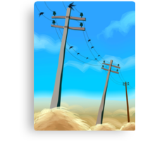 Electric post in a rural scene	 Canvas Print