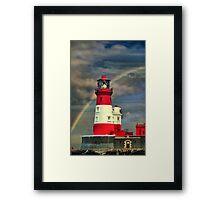 Rainbow Shining Through Lighthouse ~ Farne Islands Framed Print